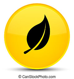 Leaf icon special yellow round button