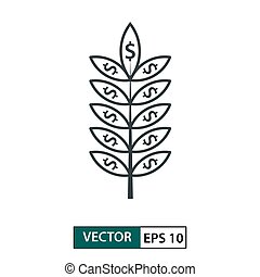 Leaf icon with dollar symbol. Line style. Isolated on white. Vector Illustration EPS 10