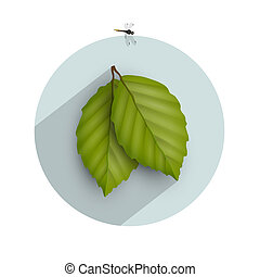 Leaf icon with long shadow