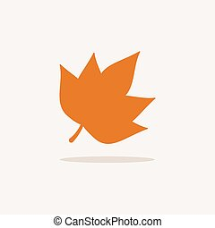 Leaf. Icon with shadow on a beige background. Autumn vector illustration