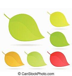 Leaf icon2 - Set leaf a tree on a grey background. A vector...