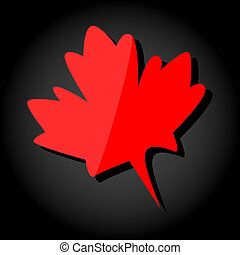 leaf., illustrazione, realistico, vettore, acero rosso