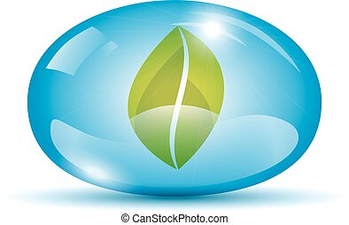Leaf in a sphere icon