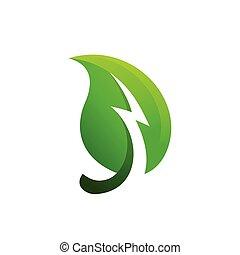 leaf logo with thunder concept