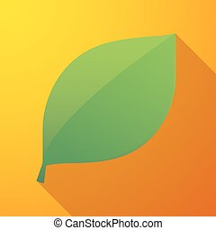 leaf long shadow icon - Illustration of a leaf long shadow...