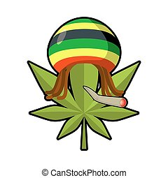 Leaf marijuana and reggae cap with dreadlocks. Green leaf cannabis smoking joint or spliff. Freaky emblem. Rastafarians symbol. rastaman sign