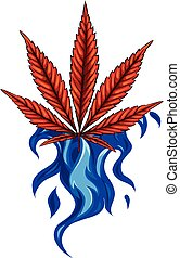 leaf of hemp from red flame vector illustration