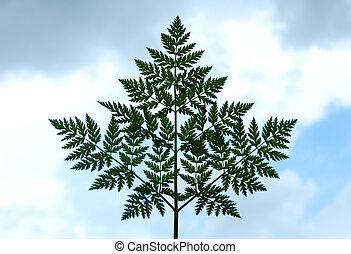 Leaf on sky background