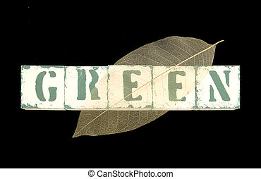 leaf on the word green