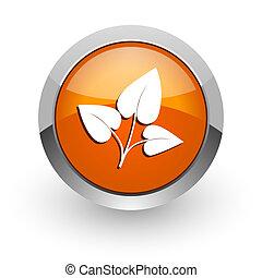 leaf orange glossy web icon