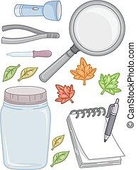 Leaf Outdoor Experiment Elements Illustration - Illustration...