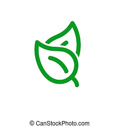 Leaf Pair Icon, eco spring symbol. Stock vector illustration isolated on white background.