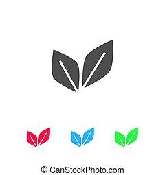Leaf Pair icon flat