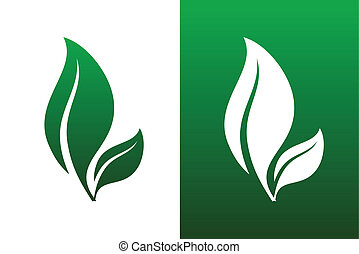 Leaf Pair Icon Vector Illustrations on Both Solid and...