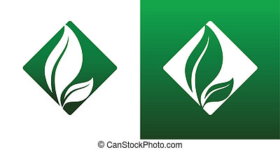 Leaf Pair Icon Vector Solid and Reversed