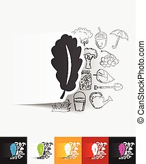 leaf paper sticker with hand drawn elements - hand drawn...