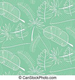 Leaf Pattern Background. Hand Drawn Vector Illustration.