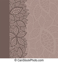 Leaf pattern border and background. This image is a vector...