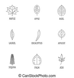 Leaf pattern icons set, outline style