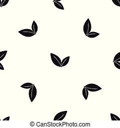 Leaf pattern seamless black