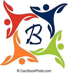 Leaf People Health Together Letter B