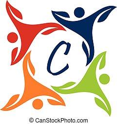 Leaf People Health Together Letter C
