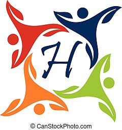 Leaf People Health Together Letter H