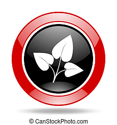 leaf red and black web glossy round icon