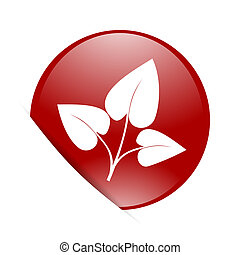 leaf red circle glossy web icon
