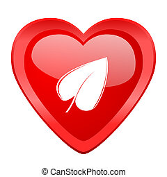 leaf red heart valentine glossy web icon