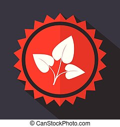 Leaf red sticker flat design vector icon
