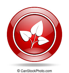 leaf red web glossy round icon