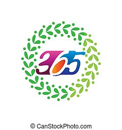 leaf rotation 365 infinity logo icon design illustration vector
