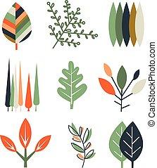 Leaf Set in Flat Design