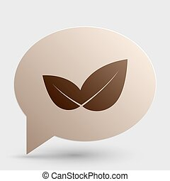 Leaf sign illustration. Brown gradient icon on bubble with shadow.
