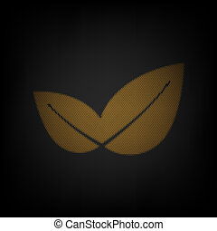 Leaf sign illustration. Icon as grid of small orange light bulb in darkness. Illustration.