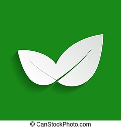 Leaf sign illustration. Vector. Paper whitish icon with soft shadow on green background.