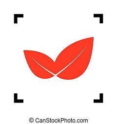 Leaf sign illustration. Vector. Red icon inside black focus corners on white background. Isolated.