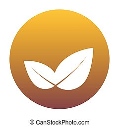 Leaf sign illustration. White icon in circle with golden gradien