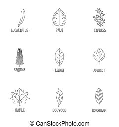 Leaf structure icons set, outline style