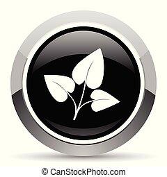 Leaf vector steel icon. Chrome border round web button....