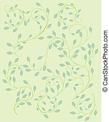 Pattern of tiny leaves on a delicate vine with a light green background.