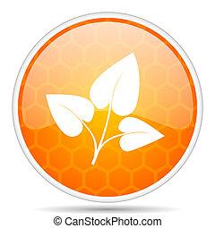 Leaf web icon. Round orange glossy internet button for webdesign.