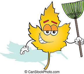 Leaf with Rake - Leaf holding a rake