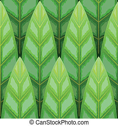 leaf wood row seamless background - vector green leaf wood...