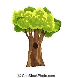 leafage., arbre, arbre., aquarelle, vert, stylisé, foliage., naturel, illustration, résumé