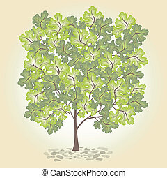 leafage., vector., arbre, vert
