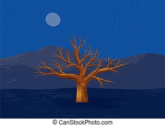 Leafless dead tree vector - Vector illustration of one dead ...