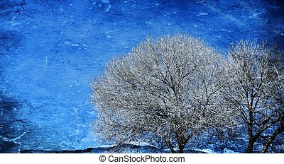leafless - Landscape with leafless tree against blue sky