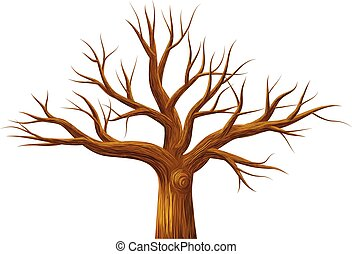 Leafless tree vector icon - Vector illustration of leafless ...